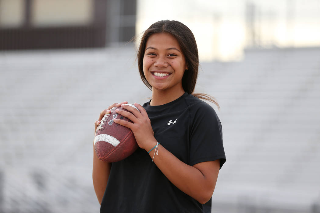 Bonanza's flag football quarterback Cindylou Rasiang, 15, at Bonanza High School in Las Vegas, Tuesday, Nov. 27, 2018. Erik Verduzco Las Vegas Review-Journal @Erik_Verduzco