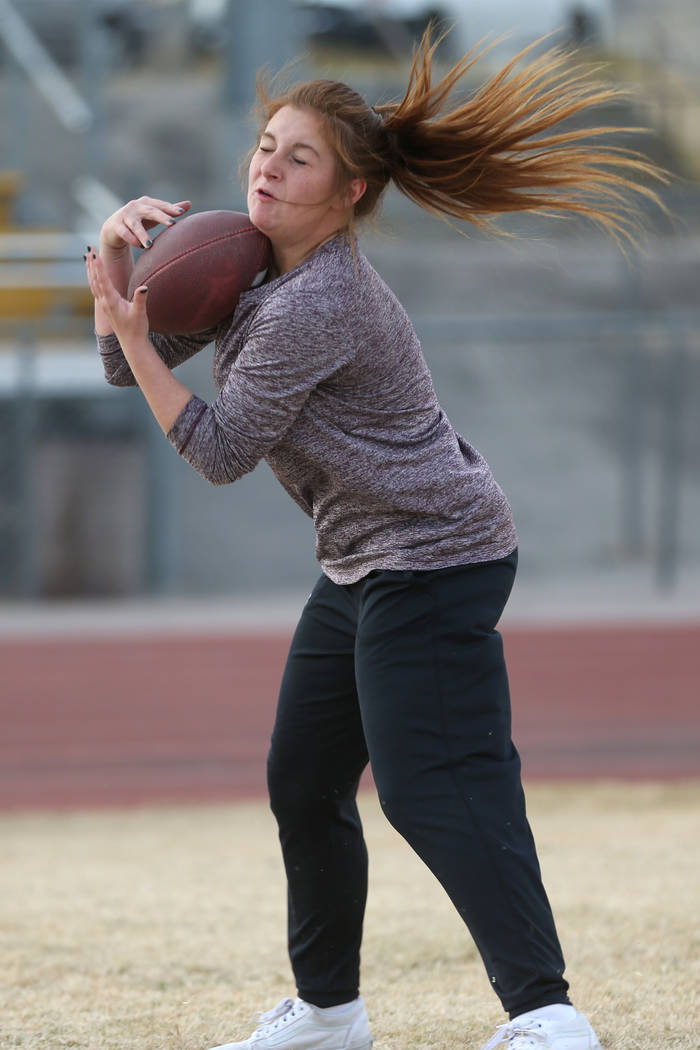 Bonanza's flag football running back Charlene Beck, 16, makes a catch during a workout at Bonanza High School in Las Vegas, Tuesday, Nov. 27, 2018. Erik Verduzco Las Vegas Review-Journal @Erik_Ver ...