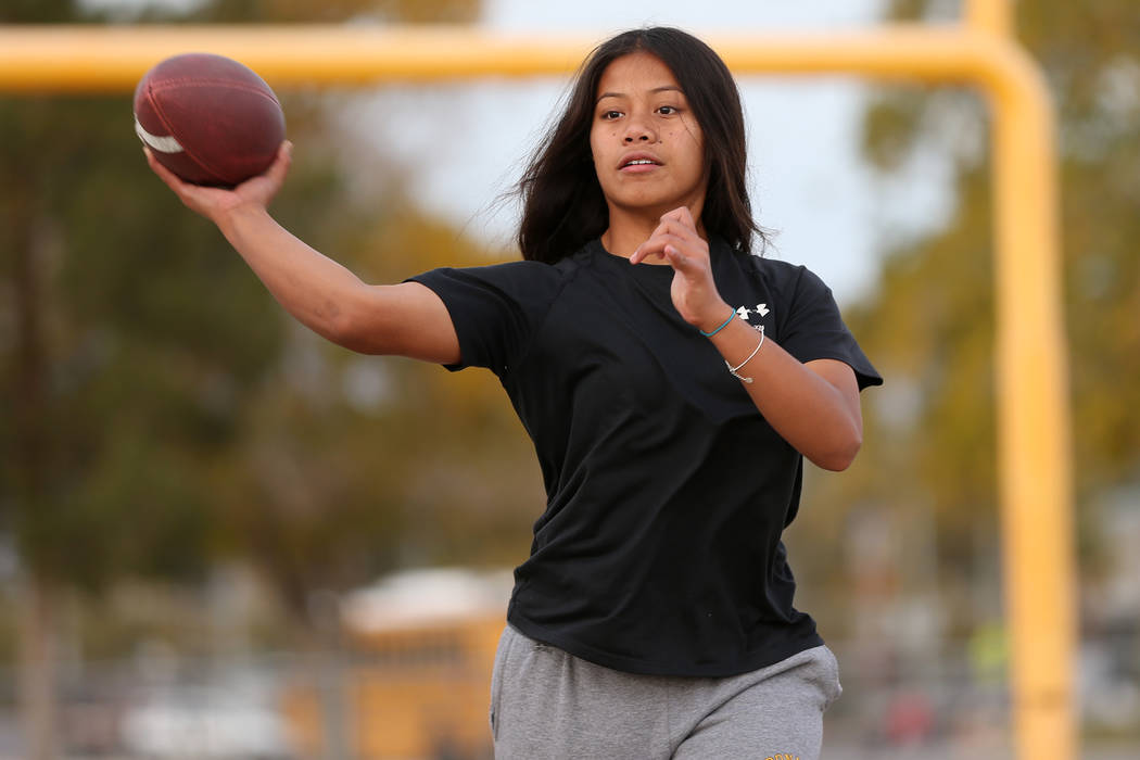 Bonanza's flag football quarterback Cindylou Rasiang, 15, throws a pass during a workout at Bonanza High School in Las Vegas, Tuesday, Nov. 27, 2018. Erik Verduzco Las Vegas Review-Journal @Erik_V ...