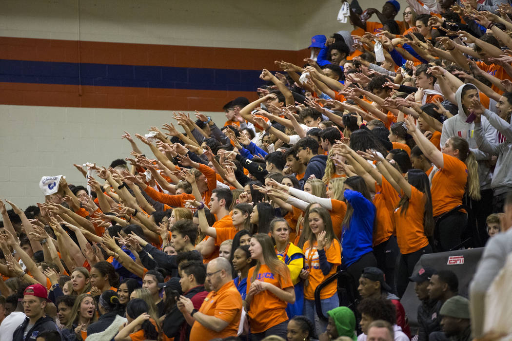Bishop Gorman fans cheer on their team during the second half of a varsity basketball game against Coronado High School at Bishop Gorman High School in Las Vegas on Thursday, Nov. 29, 2018. Richar ...