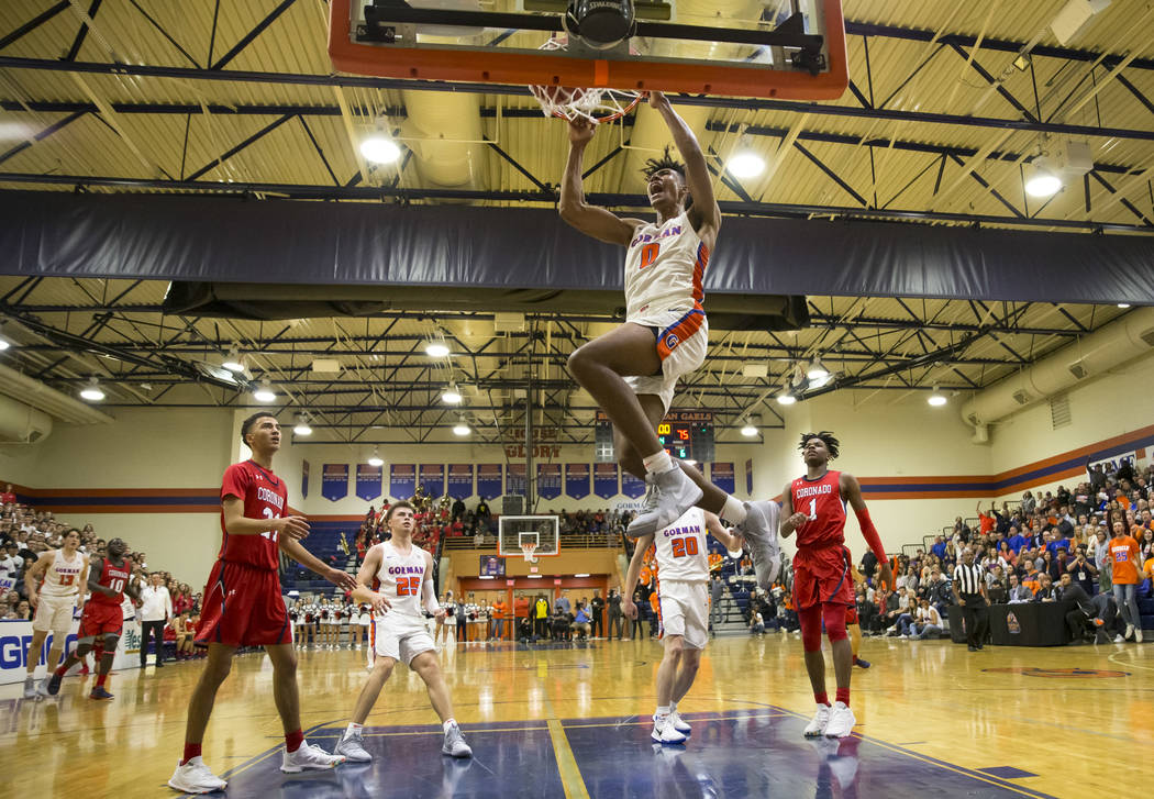 Bishop Gorman's Isaiah Cottrell (0) dunks against Coronado during the second half of a varsity basketball game at Bishop Gorman High School in Las Vegas on Thursday, Nov. 29, 2018. Richard Brian L ...