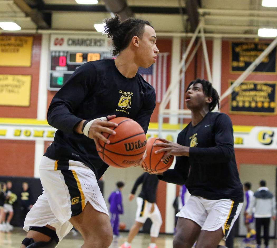 Clark senior forward Ian Alexander (32) warms up before a game against Durango at Clark High School in Las Vegas, Tuesday, Dec. 4, 2018. Caroline Brehman/Las Vegas Review-Journal