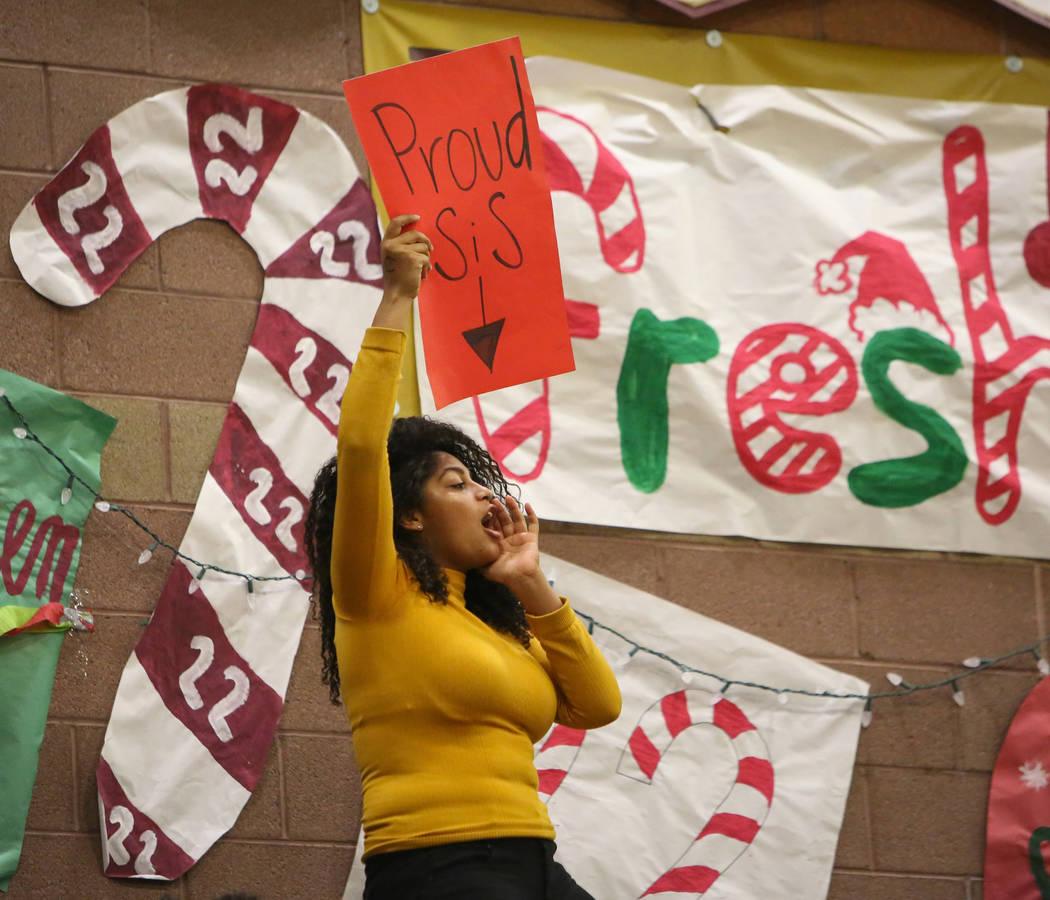 A fan cheers on Faith Lutheran during a game against Palo Verde at Faith Lutheran High School in Las Vegas, Thursday, Dec. 13, 2018. Caroline Brehman/Las Vegas Review-Journal