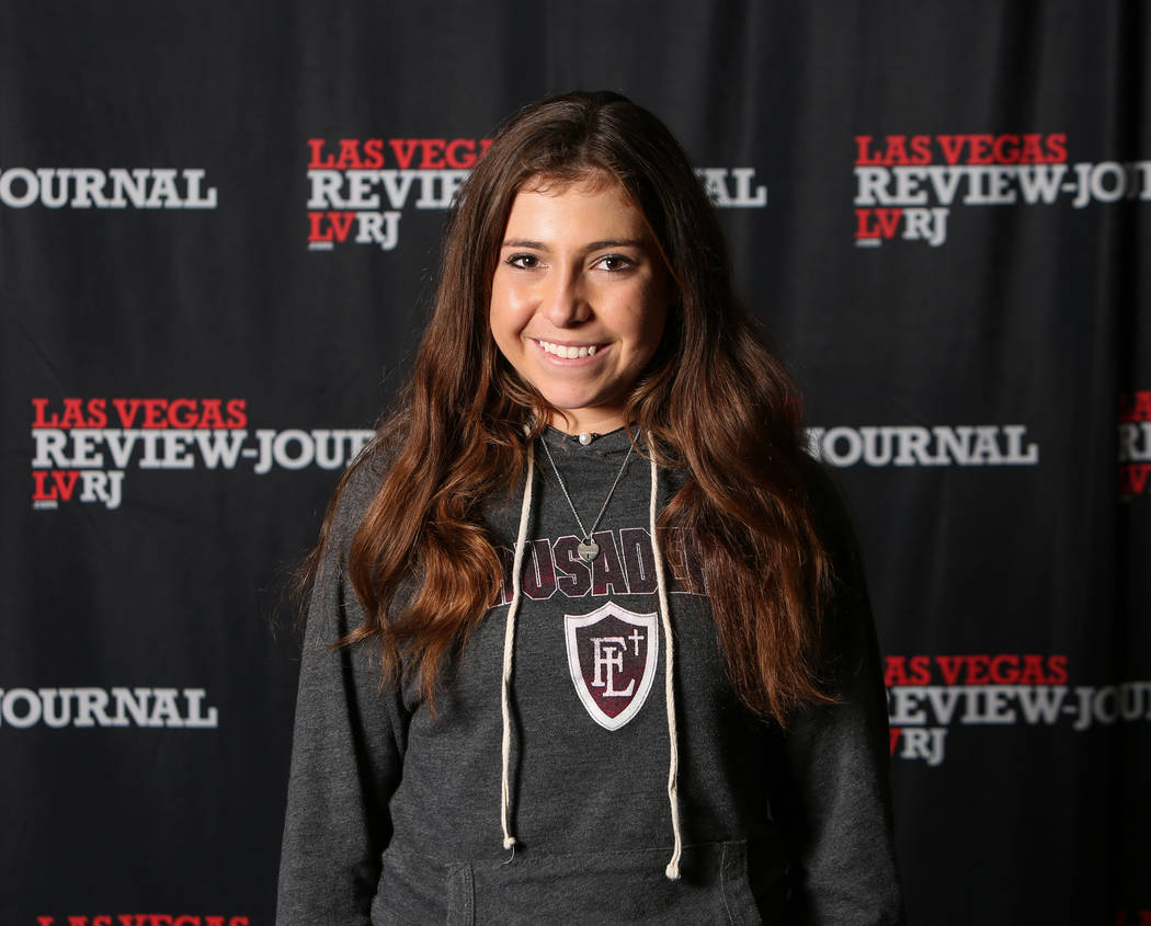 Faith Lutheran's Mira Filiberti is a member of the Nevada Preps all-state girls tennis team.