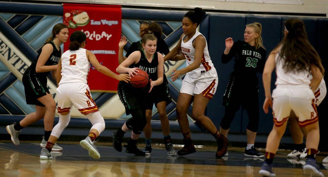Palo Verde guard Alyssa Maillaro moves the ball after grabbing a rebound in the first quarter against Thomas Jefferson during their Las Vegas Holiday Classic Tournament prep basketball game at Cen ...