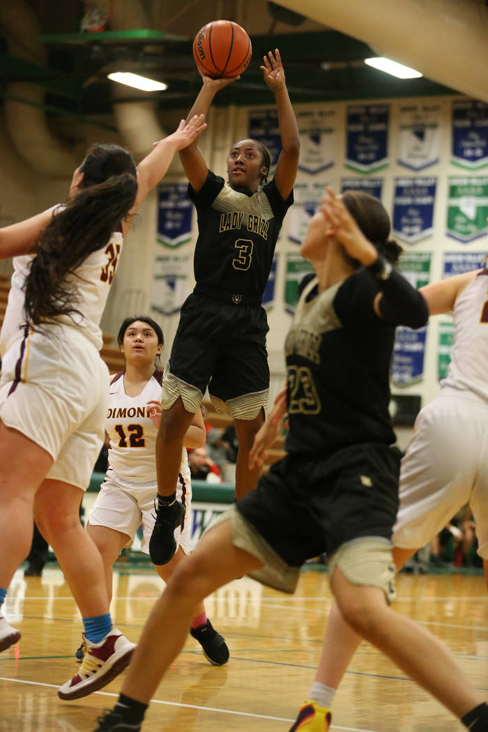 Spring Valley's Aaliyah Gayles (3) takes a shot for a score against Dimond in the Diamond bracket championship basketball game at Green Valley High School in Henderson, Saturday, Jan. 5, 2019. Eri ...