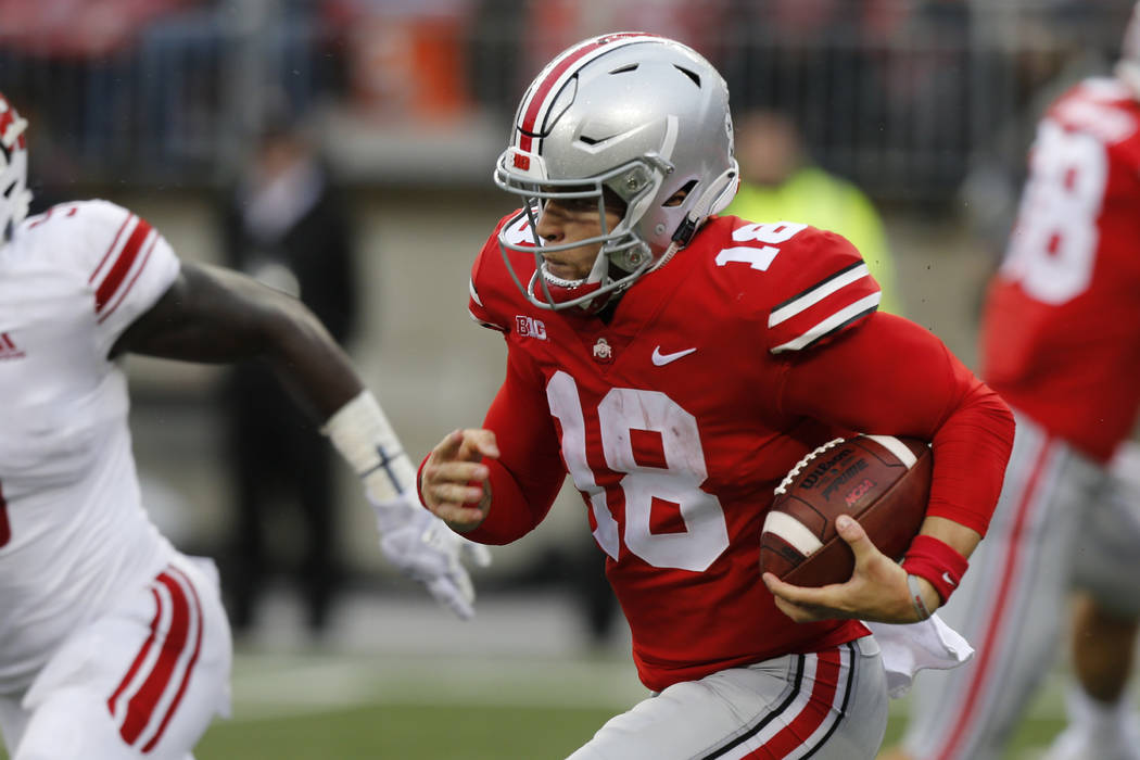 Ohio State quarterback Tate Martell plays against Rutgers during an NCAA college football game Saturday, Sept. 8, 2018, in Columbus, Ohio. (AP Photo/Jay LaPrete)