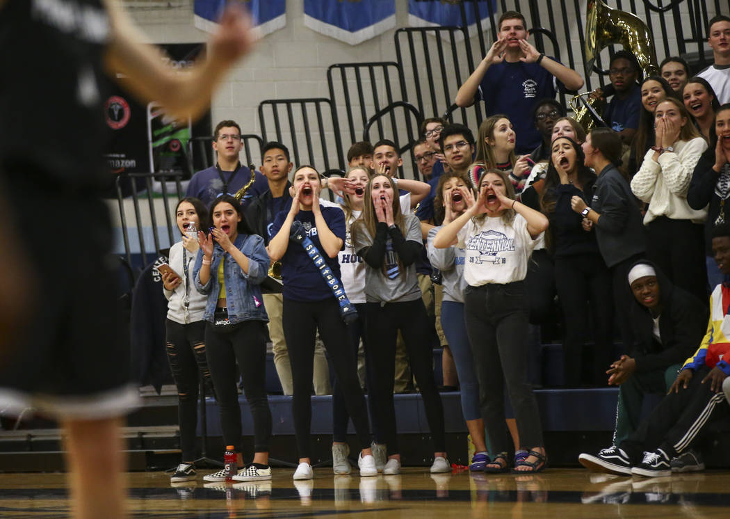 Centennial fans shout as a Palo Verde player lines up a free throw shot during the second half of a basketball game at Centennial Hills High School in Las Vegas on Friday, Jan. 11, 2019. Chase Ste ...