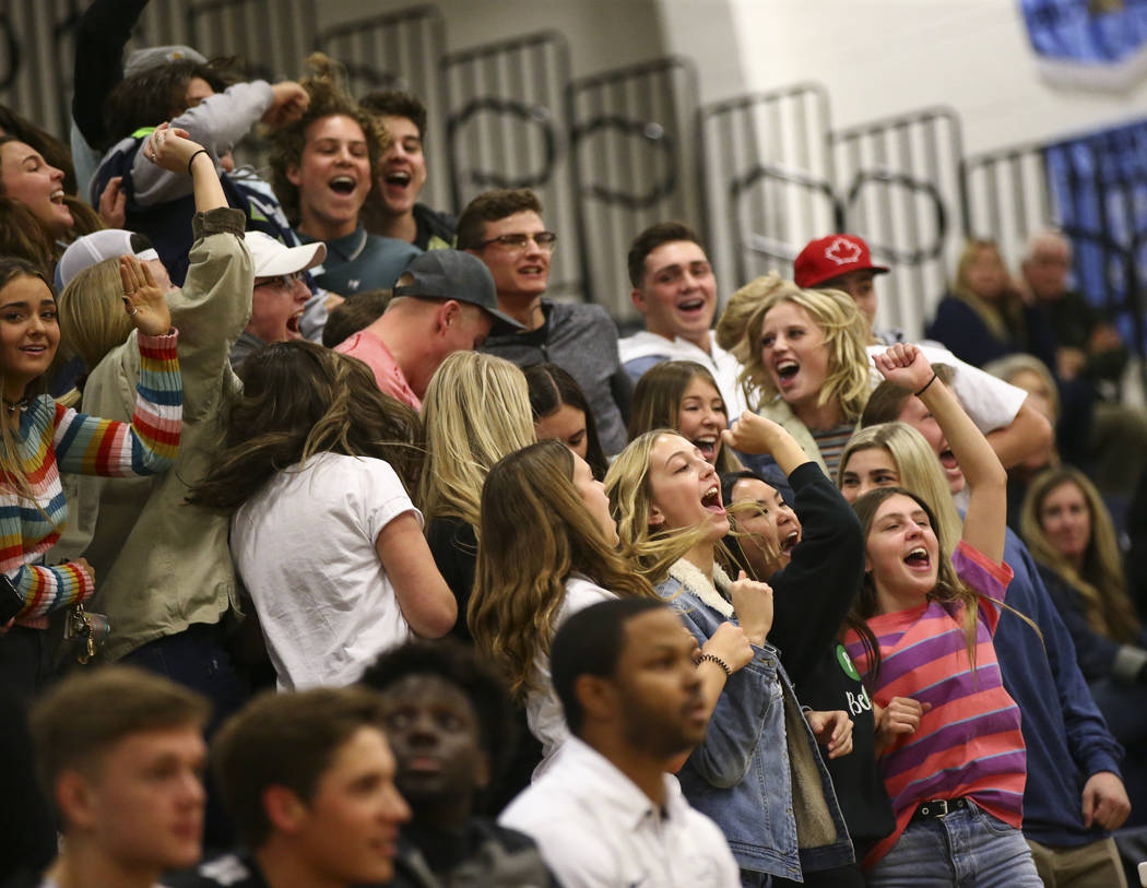 Palo Verde fans cheer during the second half of a basketball game at Centennial Hills High School in Las Vegas on Friday, Jan. 11, 2019. Chase Stevens Las Vegas Review-Journal @csstevensphoto