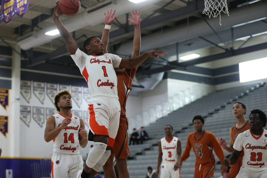 Chaparral's Meshach Hawkins (1) goes up for a shot against Legacy in the boy's basketball game at Durango High School in Las Vegas, Saturday, Jan. 12, 2019. Erik Verduzco Las Vegas Review-Journal ...