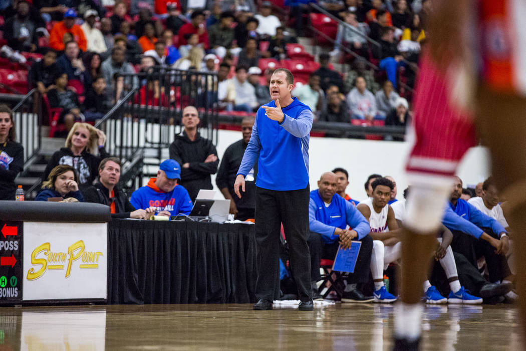 Bishop Gorman coach Grant Rice reacts to a play during the Big City Showdown at South Point in Las Vegas on Saturday, Jan. 20, 2018. Findlay Prep won 75-68. Patrick Connolly Las Vegas Review-Jour ...