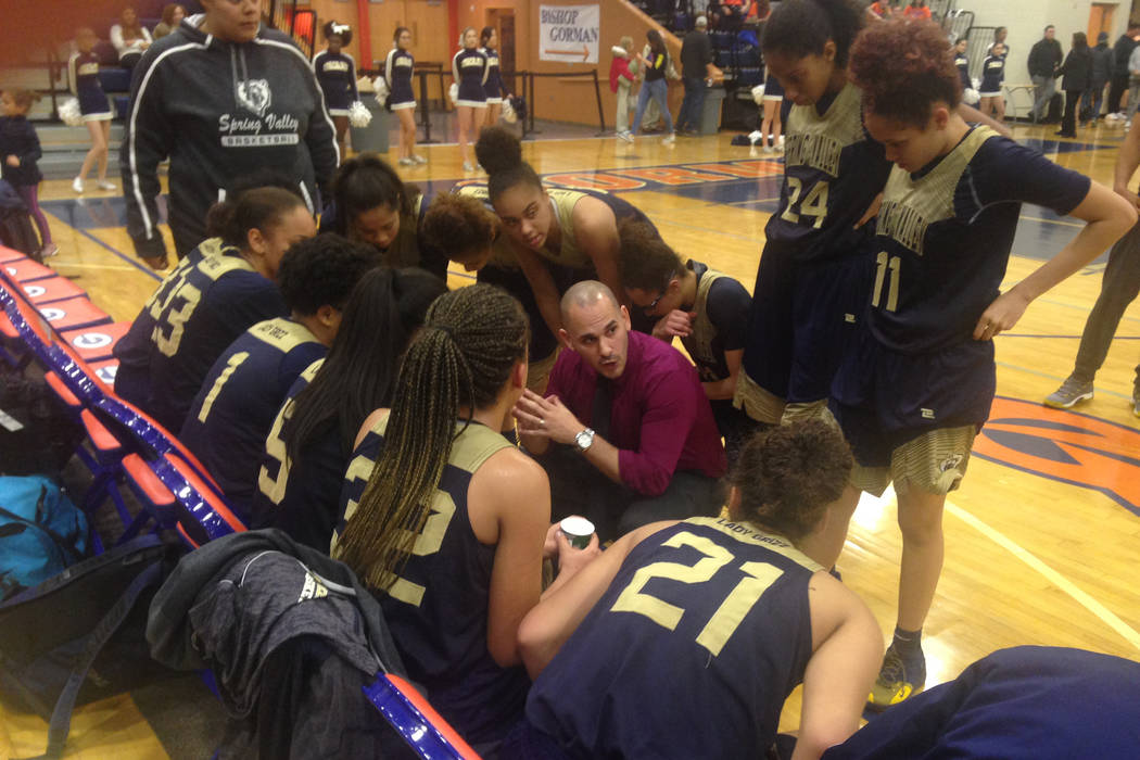 Spring Valley coach Billy Hemberger talks to his team during a timeout on Wednesday, Jan. 16, 2019 at Bishop Gorman. The Grizzlies defeated the Gaels, 60-42. (Bartt Davis/Las Vegas Review-Journal)