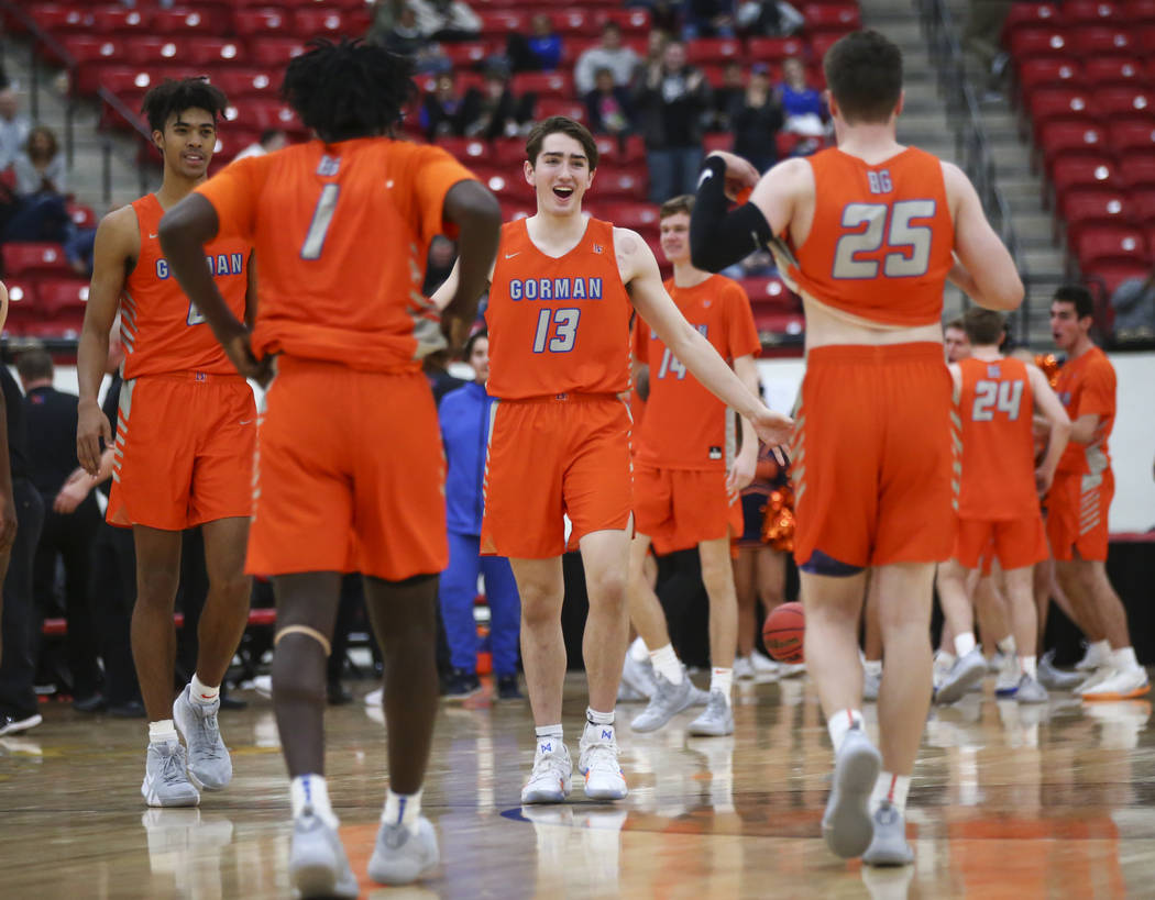 Bishop Gorman's Braden Lamar (13) celebrates his team's win against Findlay Prep in the annual Big City Showdown basketball game at the South Point in Las Vegas on Saturday, Jan. 19, 2019. Chase S ...