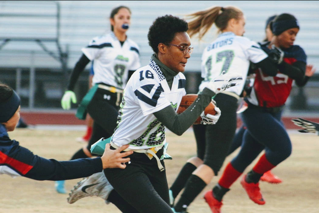 Green Valley's Deborah Grant rushes for 26 yards against Liberty on Thursday, Jan. 24, 2019. (Courtesy Chris Zinke)