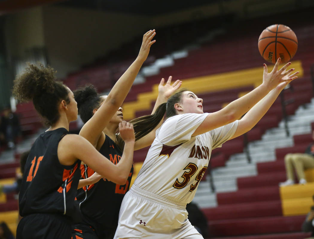 Del Sol's Melissa Burnett (35) gets a rebound against Mojave during the first half of a basketball game at Del Sol High School in Las Vegas on Wednesday, Jan. 30, 2019. (Chase Stevens/Las Vegas Re ...