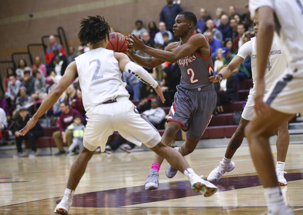 Arbor View's Favor Chukwukelu (2) passes the ball during the first half of a basketball game at Faith Lutheran High School in Las Vegas on Thursday, Jan. 31, 2019. (Chase Stevens/Las Vegas Review- ...