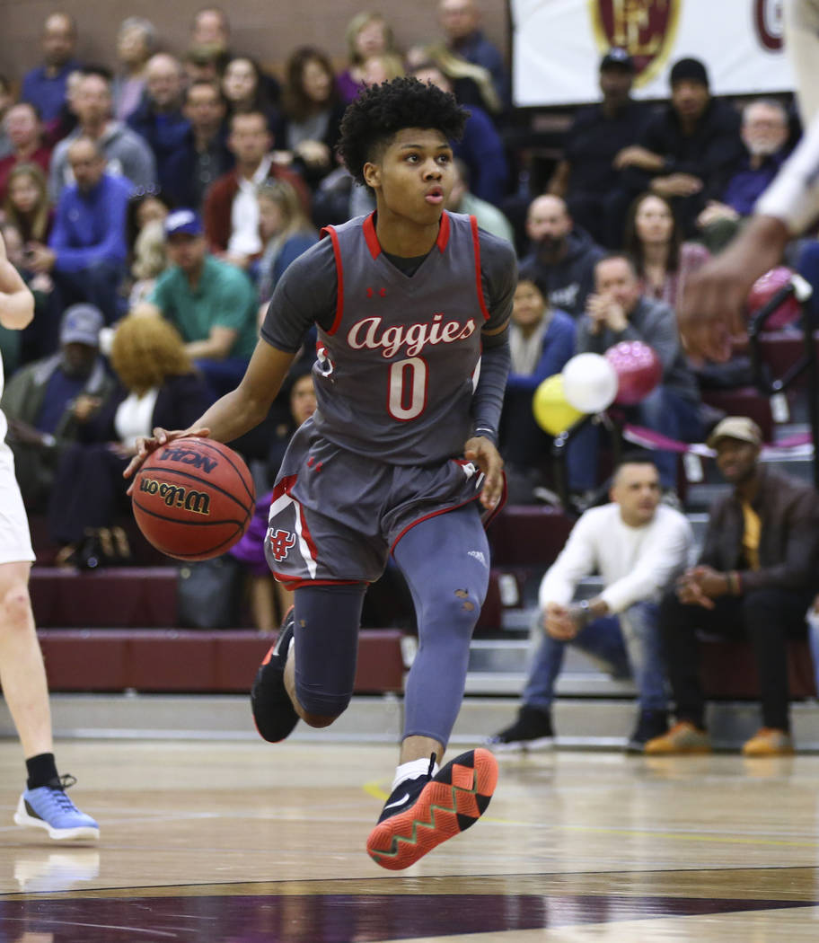 Arbor View's Donovan Yap (0) drives the ball during the first half of a basketball game at Faith Lutheran High School in Las Vegas on Thursday, Jan. 31, 2019. (Chase Stevens/Las Vegas Review-Journ ...