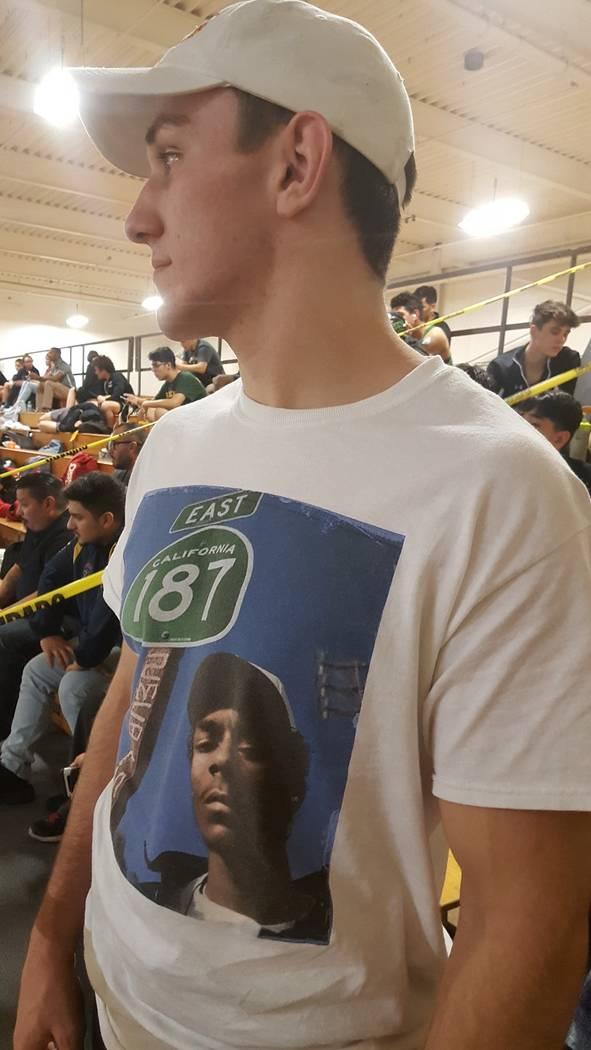 Faith Lutheran's Connor Bourne prepares to pin Eldorado's Marques Anaya-Casarez in the quarterfinals of the Mountain Region tournament Friday at Bonanza High School. (W.G. Ramirez/Las Vegas Review ...