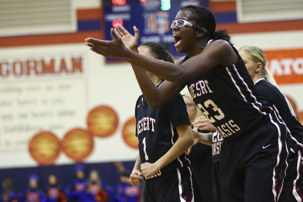 Desert Oasis' Desi-Rae Young (23) cheers during the second half of a basketball game at Bishop Gorman High School in Las Vegas on Friday, Feb. 1, 2019. (Chase Stevens/Las Vegas Review-Journal) @cs ...