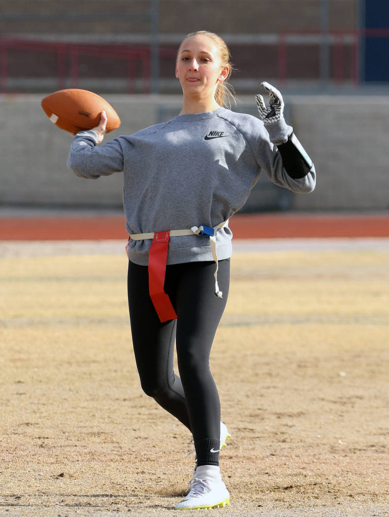Coronado freshman flag football quarterback Ashtyn Almeido throws the ball during team practice on Wednesday, Feb. 6, 2019, at Coronado High School in Henderson. (Bizuayehu Tesfaye/Las Vegas Revie ...