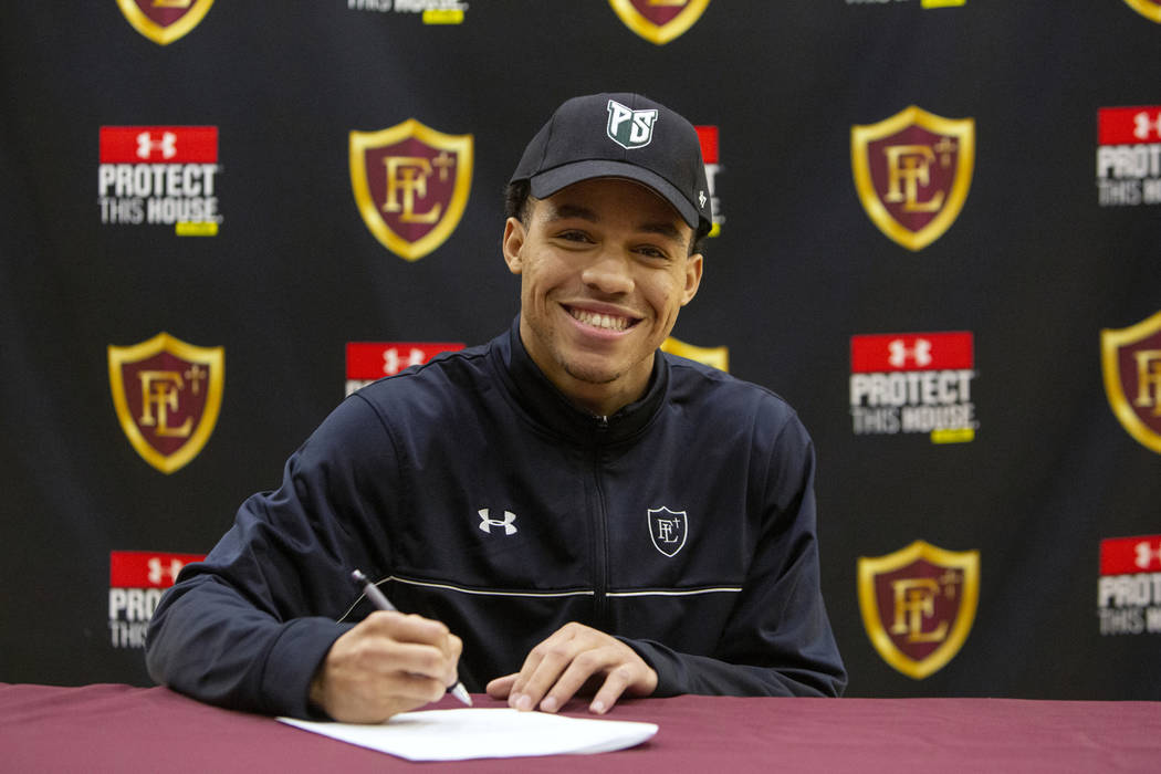 Faith Lutheran High School senior Greg Oliver poses after signing his national letter of intent to Portland State University at Faith Lutheran High School in Las Vegas, Wednesday, Feb. 6, 2019. Ca ...