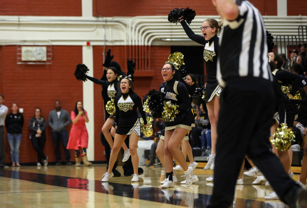 Clark cheerleaders cheer after a basket is made during a basketball game at Clark High School in Las Vegas, Thursday, Feb. 7, 2019. Caroline Brehman/Las Vegas Review-Journal