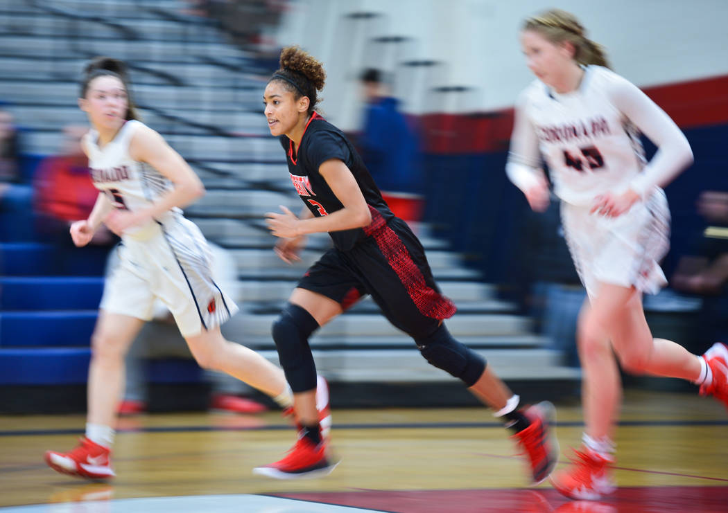 Liberty senior Journie Augmon (3) transitions to offense in the second quarter of a game between Coronado High School and Liberty High School at Coronado High School in Henderson, Nev., on Friday, ...