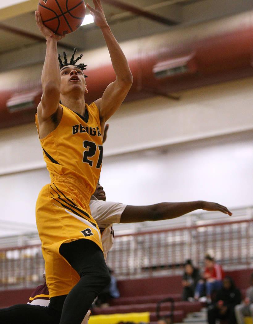 Bonanza's Trent Savage (21) jumps up to take a shot during a game at Eldorado High School in Las Vegas, Monday, Feb. 11, 2019. Caroline Brehman/Las Vegas Review-Journal