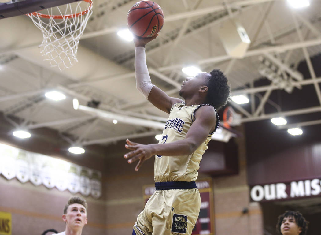 Cheyenne's J.D. McCormick (3) goes to the basket during the second half of a basketball game at Faith Lutheran High School in Las Vegas on Wednesday, Feb. 13, 2019. (Chase Stevens/Las Vegas Review ...