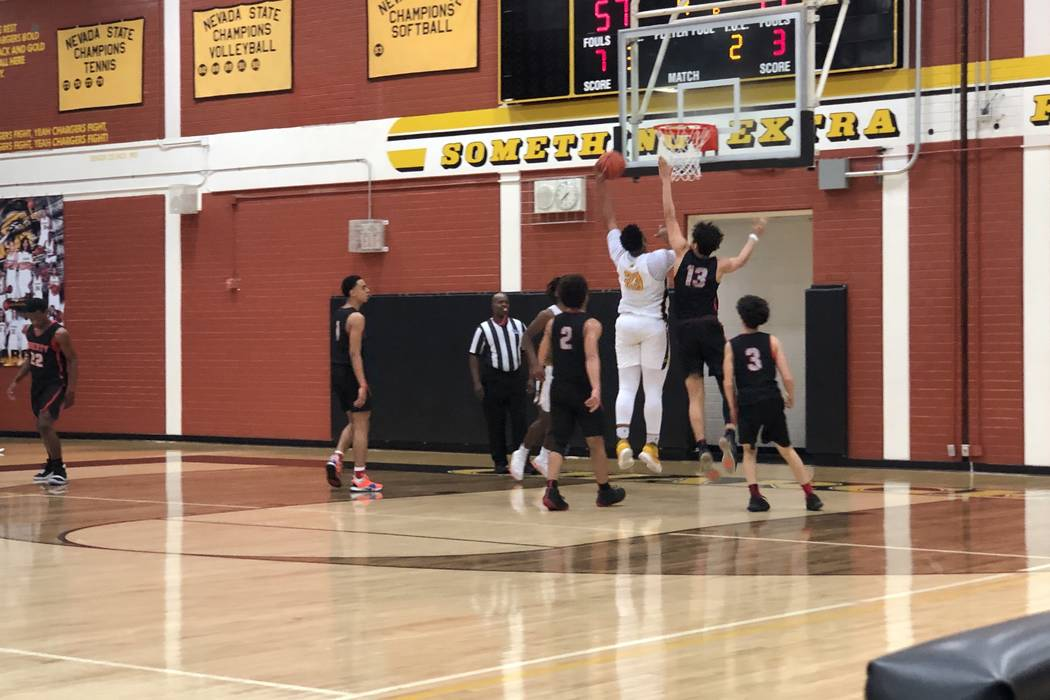 Clark senior Antwon Jackson makes a layup in the fourth quarter of a 69-47 victory over Liberty in the Desert Region tournament at Clark High School on Friday, February 15th, 2019. Sam Gordon/Las ...