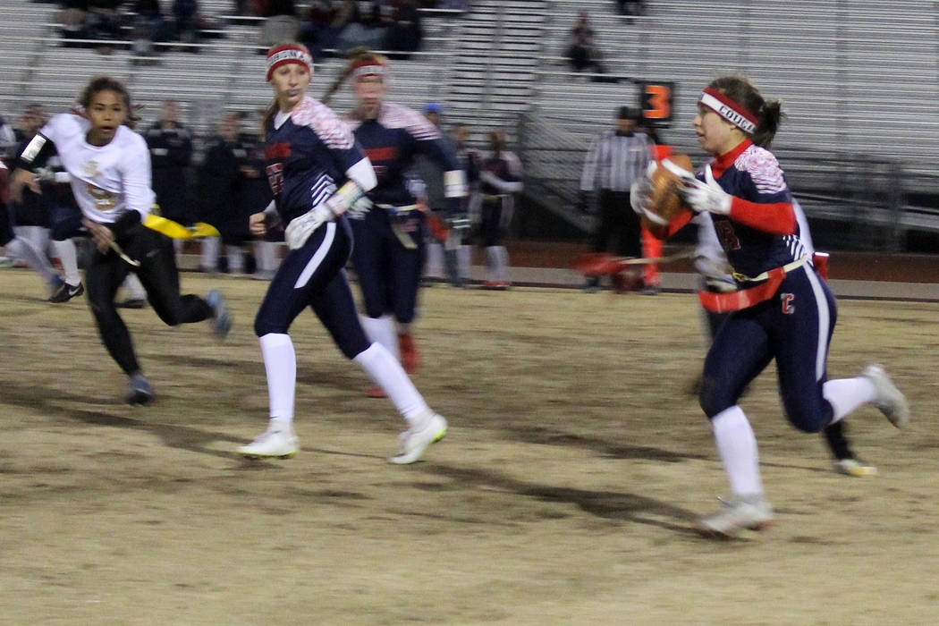 Coronado's Kaylee Zicha carries the ball on Friday against Sierra Vista. Coronado held off the Mountain Lions for a 14-7 win in the Desert Region semifinals. (Tim Guesman/Las Vegas Review-Journal)