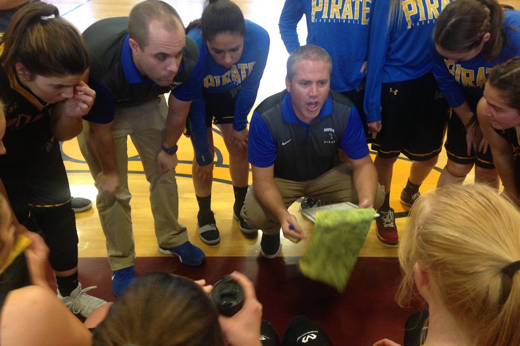 Moapa Valley coach Brandon Jones gives instructions between the first and second quarter of the Pirates' 29-24, overtime win over Pahrump Valley at Del Sol on Saturday, Feb. 23, 2019. (Bartt Davis ...