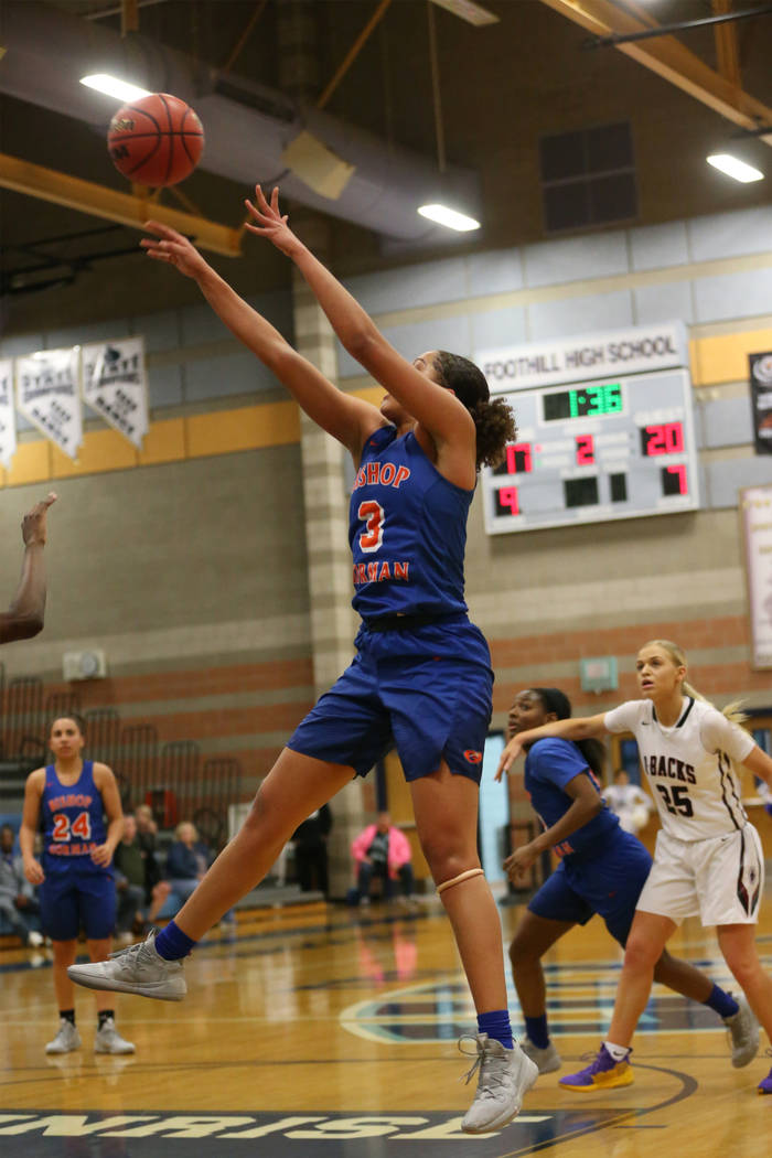 Bishop Gorman's Georgia Ohiaeri (3) shoots the ball against Desert Oasis in the Desert Region girls basketball championship game at Foothill High School in Henderson, Saturday, Feb. 23, 2019. (Eri ...