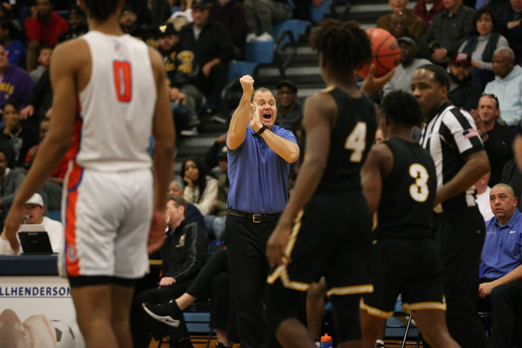 Bishop Gorman head coach Grant Rice reacts after a play against Clark in the Desert Region boys basketball championship game at Foothill High School in Henderson, Saturday, Feb. 23, 2019. Bishop G ...