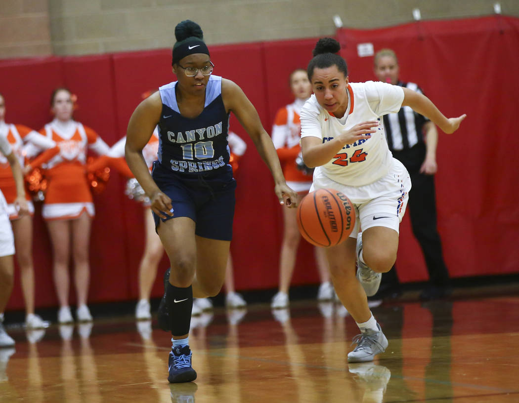Canyon Springs' Sydnei Collier (10) chases after the ball against Bishop Gorman's Bentleigh Hoskins (24) during the first half of a Class 4A state girls basketball quarterfinal game at Arbor View ...