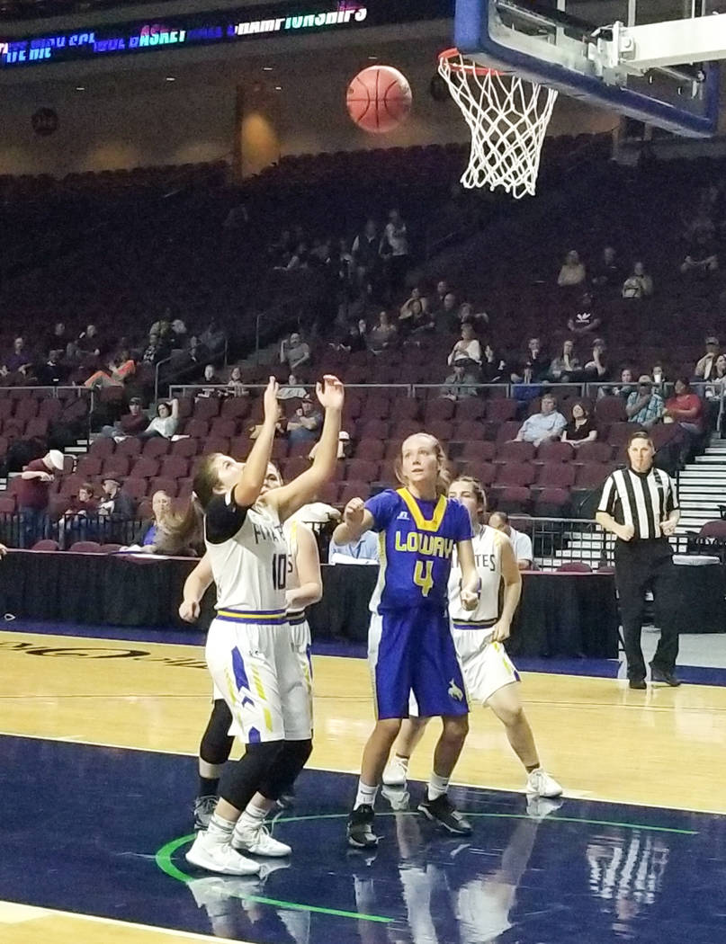 Moapa Valley's Peyton Schraft looks to grab a rebound in the Class 3A state semifinals at Orleans Arena on Friday, March 1, 2019. The Pirates won 43-38. (Damon Seiters/Las Vegas Review-Journal)