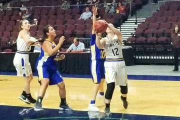 Moapa Valley's Lainey Cornwall scores a basket in the second half against Lowry in the Class 3A state semifinals at Orleans Arena on Friday, March 1, 2019. The Pirates won 43-38. (Damon Seiters/La ...
