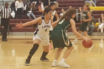 Calvary Chapel's Tara Quintero defends Incline Village's Elisabeth Stranzal during the fourth quarter of the Class 2A state semifinal at Eldorado on Friday, March 1, 2019. Incline defeated Calvary ...