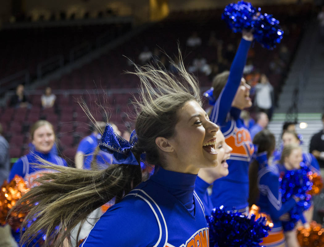 Bishop Gorman cheerleaders fire up the Gaels in the fourth quarter during the Class 4A boys state championship game with Clark on Friday, March 1, 2019, at Orleans Arena, in Las Vegas. (Benjamin H ...