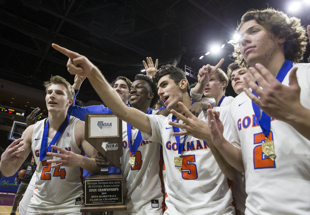 Bishop Gorman celebrates after beating Clark 68-60 to win the Class 4A boys state championship on Friday, March 1, 2019, at Orleans Arena, in Las Vegas. (Benjamin Hager Review-Journal) @BenjaminHphoto