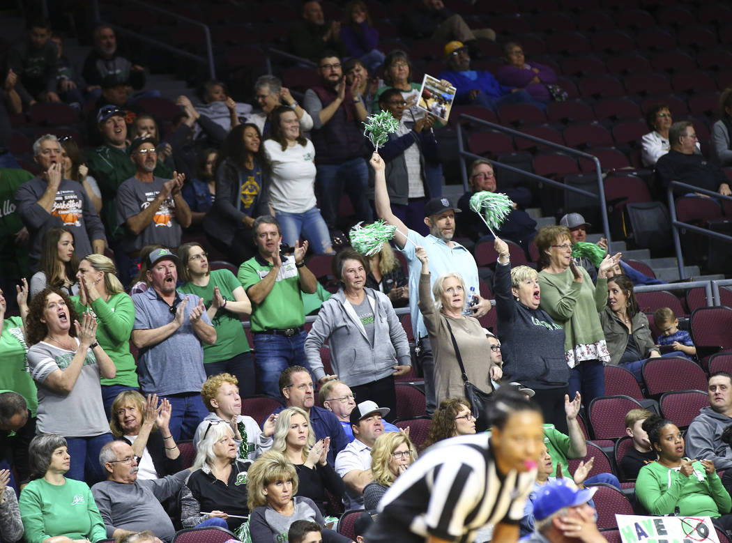 Churchill County fans cheer during the second half of the Class 3A girls basketball state championship game against Moapa Valley at the Orleans Arena in Las Vegas on Saturday, March 2, 2019. (Chas ...