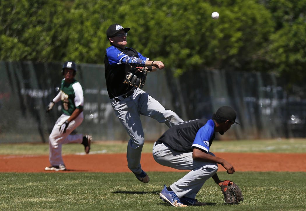 Basic's Garrett Giles (17) ducks while Kyle Turner (8) throws to first base against Rancho at Rancho High School in Las Vegas on Saturday, April 7, 2018. Rancho won 16-4. Andrea Cornejo Las Vegas ...