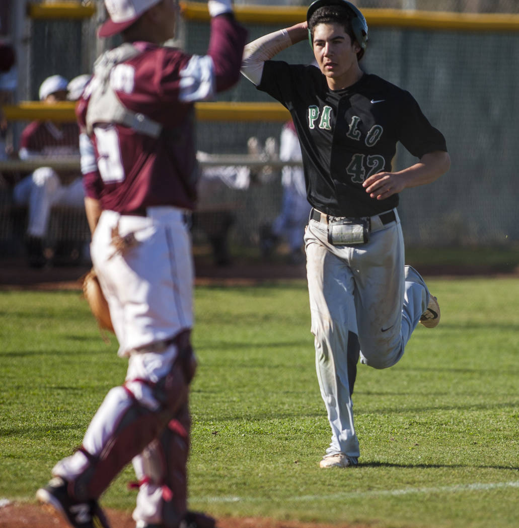 Palo Verde's Josiah Cromwick runs toward home at Cimarron-Memorial High School on Wednesday, March 14, 2018. Palo Verde won 12-8. Patrick Connolly Las Vegas Review-Journal @PConnPie