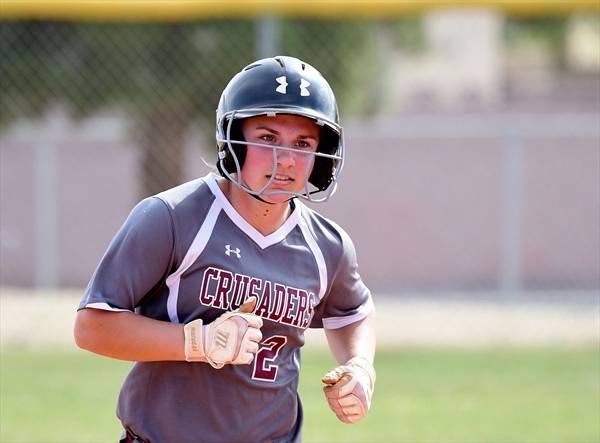 Faith Lutheran's Clara Heislen runs the bases. (Courtesy Sarah Harper)