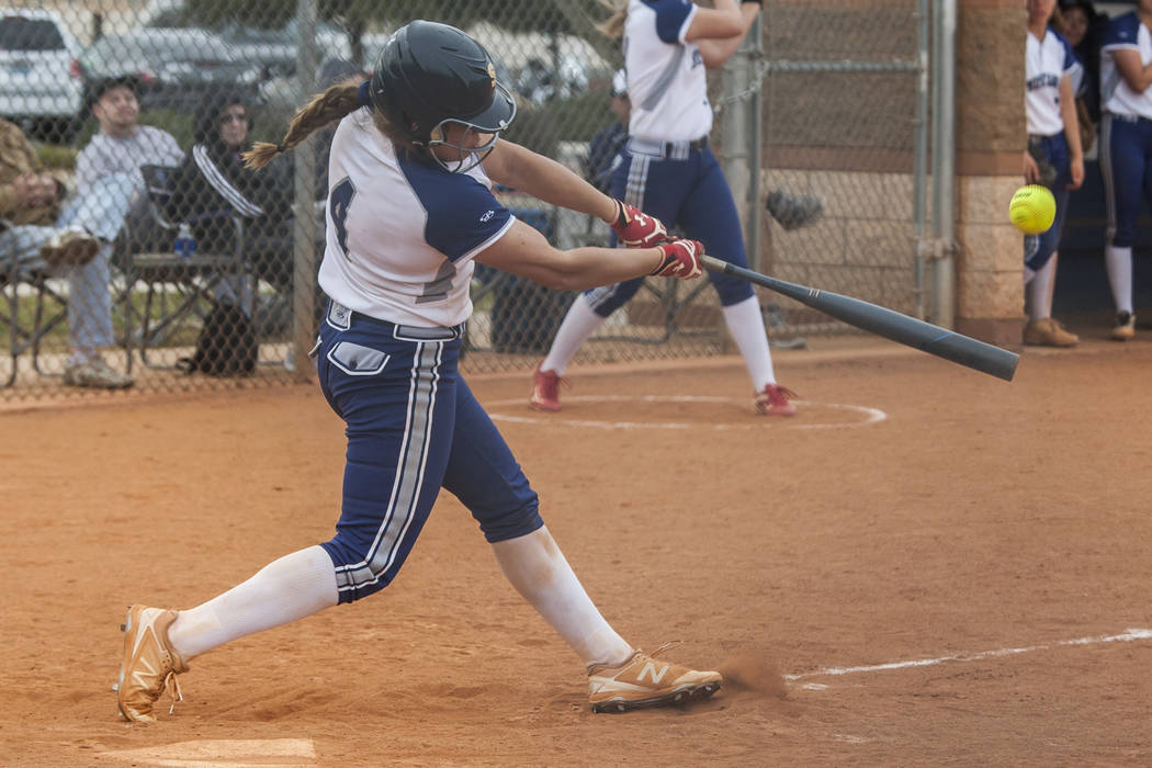 Shadow Ridge's Shea Clements bats against Shadow Ridge during the fourth inning at Shadow Ridge High School in Las Vegas on Tuesday, March 20, 2018. Patrick Connolly Las Vegas Review-Journal @PCo ...