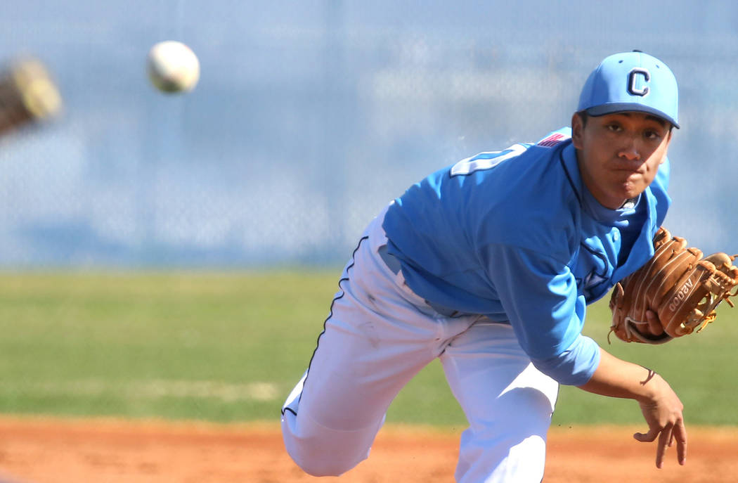 Centennial's pitcher Nate Martin delivers against Liberty High during their baseball game at Centennial High School on Thursday, March 7, 2019, in Las Vegas. Centennial won 5-4. (Bizuayehu Tesfaye ...