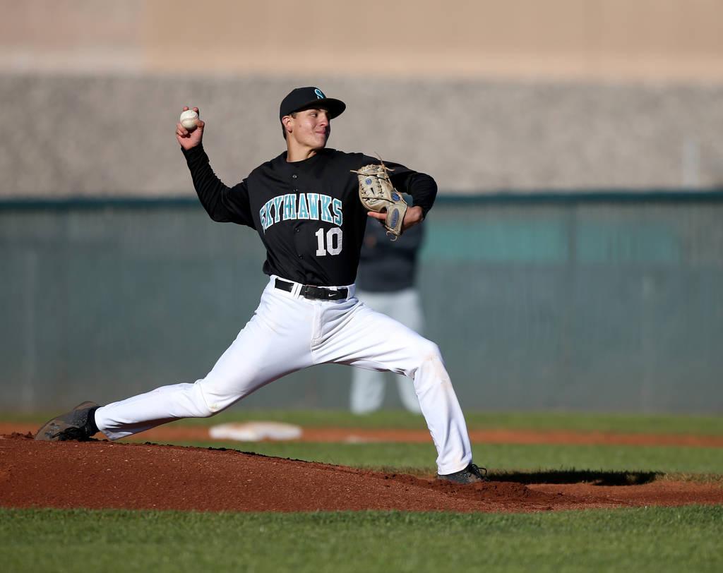 Silverado pitcher Chris Cortez (10) throws against Faith Lutheran during a baseball game at Silverado High School in Las Vegas Friday, March 8, 2019. (K.M. Cannon/Las Vegas Review-Journal) @KMCann ...