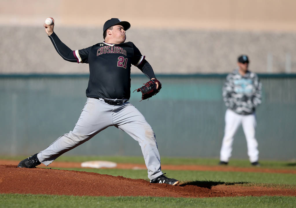 Faith Lutheran pitcher Christian Dijkman (21) throws against Silverado during a baseball game at Silverado High School in Las Vegas Friday, March 8, 2019. (K.M. Cannon/Las Vegas Review-Journal) @K ...