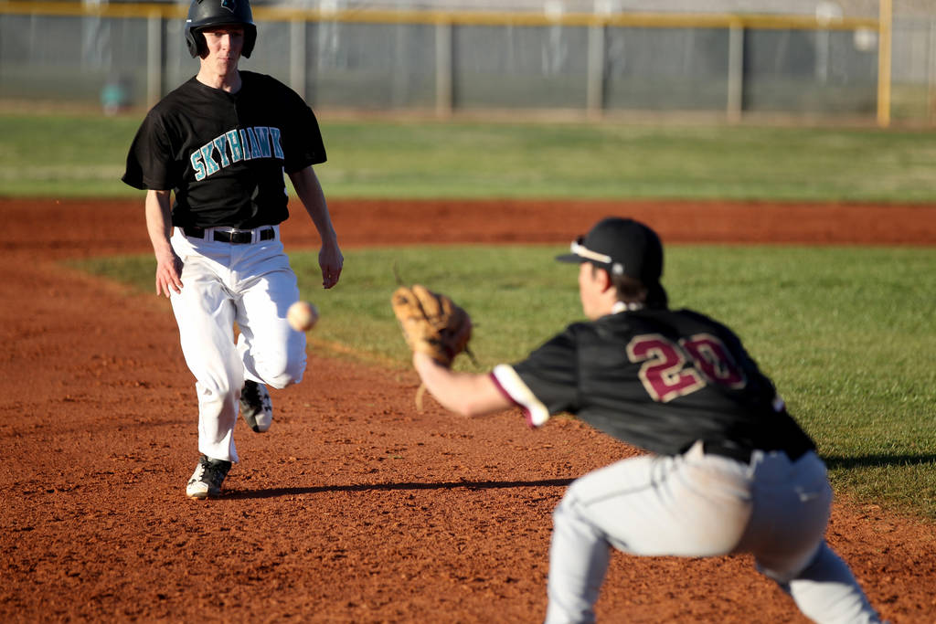 Faith Lutheran third baseman Dylan Howell (20) prepares to tag out Silverado baserunner Andrew Maxwell (5) during a baseball game at Silverado High School in Las Vegas Friday, March 8, 2019. (K.M. ...