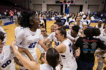 Centennial's girls basketball team celebrates after beating Bishop Gorman, 78-47 to win the Class 4A state girls championship on Friday, March 1, 2019 at Orleans Arena. Benjamin Hager/Las Vegas Re ...